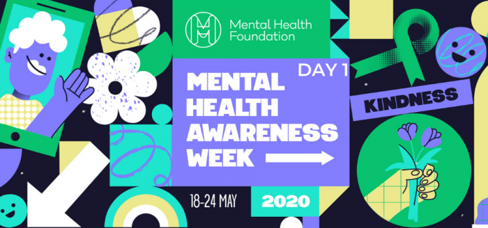 "Mental Health Awareness Week Social Media Graphics Banner with ""Day 1"" text overlay"