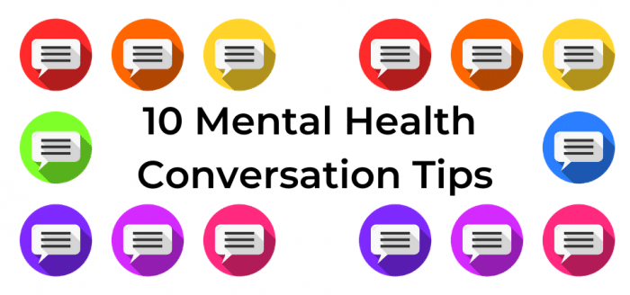 "Speech bubbles in coloured circles surrounding the text ""10 Mental Health Conversation Tips"""