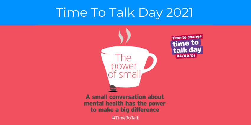 """White coffee cup silhouette on pastel red background with Time to Change's Logo and text reading """"A small conversation about mental health has the power to make a big difference. #TimeToTalk."""""""